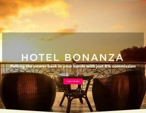 Hotel bonanza logo seen on top of a terrace with a sunset